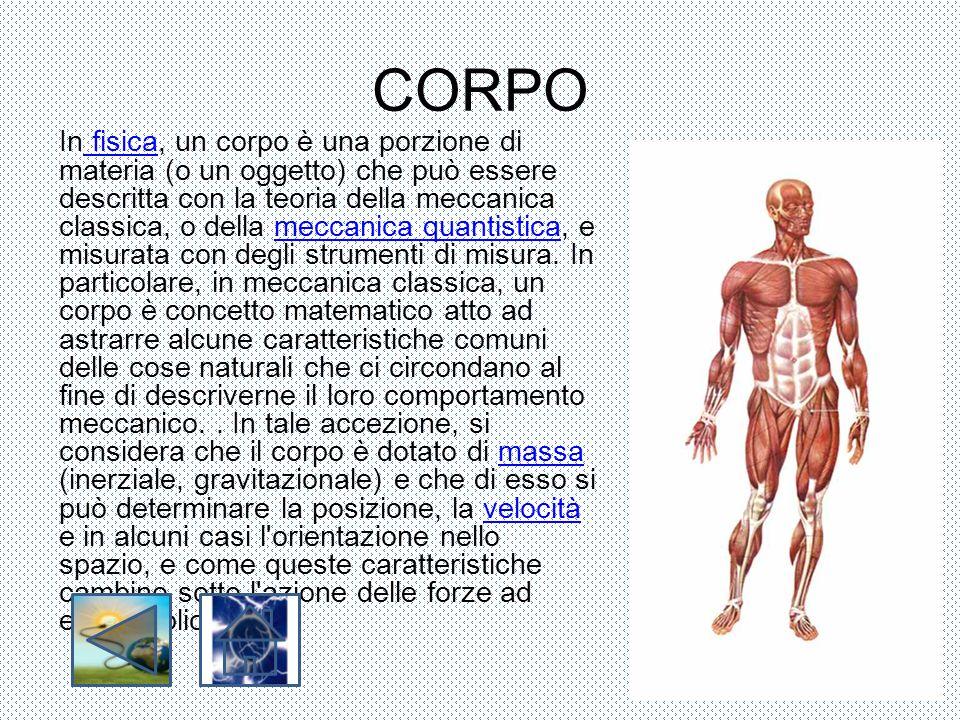CORPO In fisica, un corpo è una porzione di materia (o un oggetto) che può essere descritta con la teoria della meccanica classica, o della meccanica