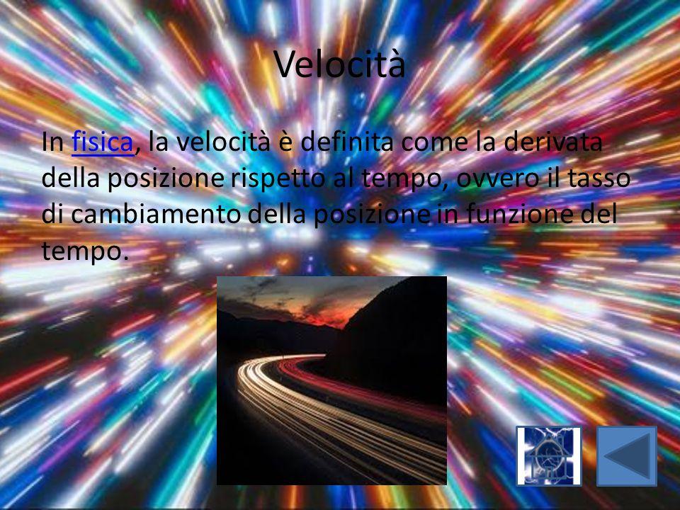 Velocità In fisica, la velocità è definita come la derivata della posizione rispetto al tempo, ovvero il tasso di cambiamento della posizione in funzi