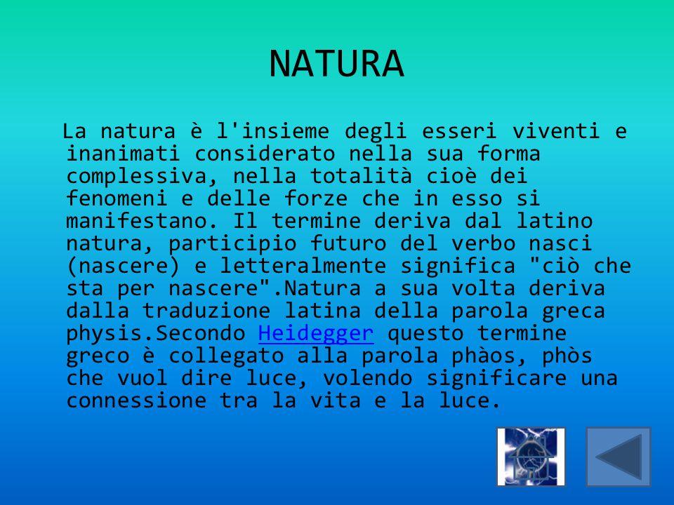 NATURA La natura è l'insieme degli esseri viventi e inanimati considerato nella sua forma complessiva, nella totalità cioè dei fenomeni e delle forze