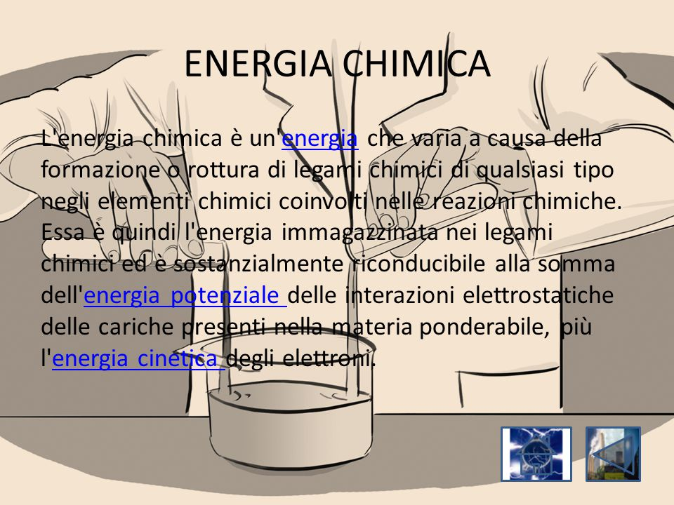 ENERGIA CHIMICA L'energia chimica è un'energia che varia a causa della formazione o rottura di legami chimici di qualsiasi tipo negli elementi chimici