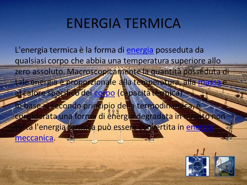ENERGIA TERMICA L'energia termica è la forma di energia posseduta da qualsiasi corpo che abbia una temperatura superiore allo zero assoluto. Macroscop