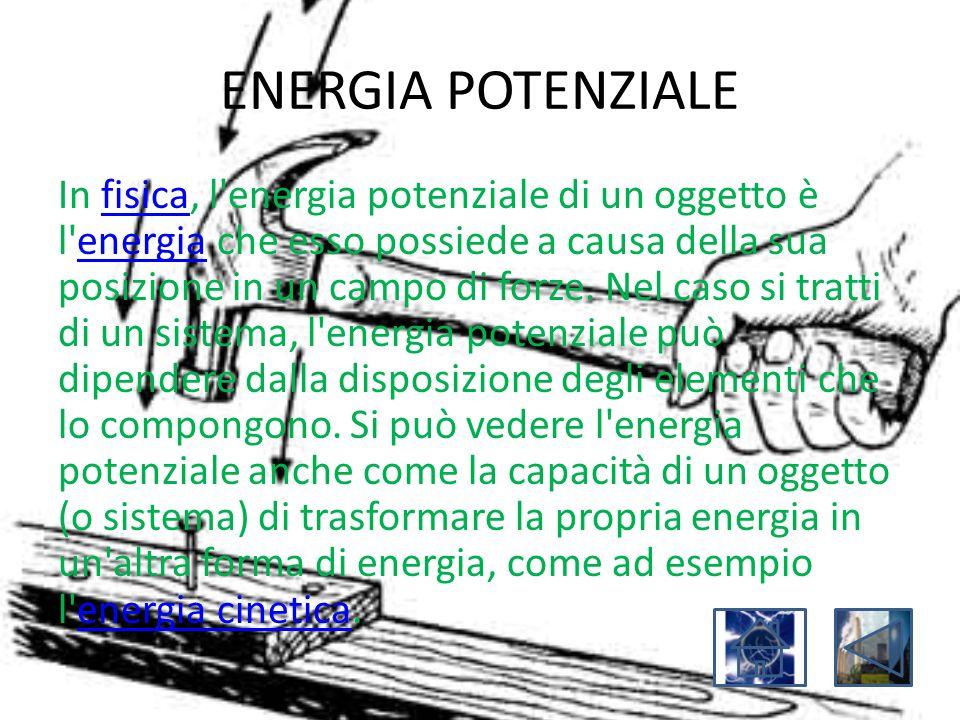 ENERGIA POTENZIALE In fisica, l'energia potenziale di un oggetto è l'energia che esso possiede a causa della sua posizione in un campo di forze. Nel c