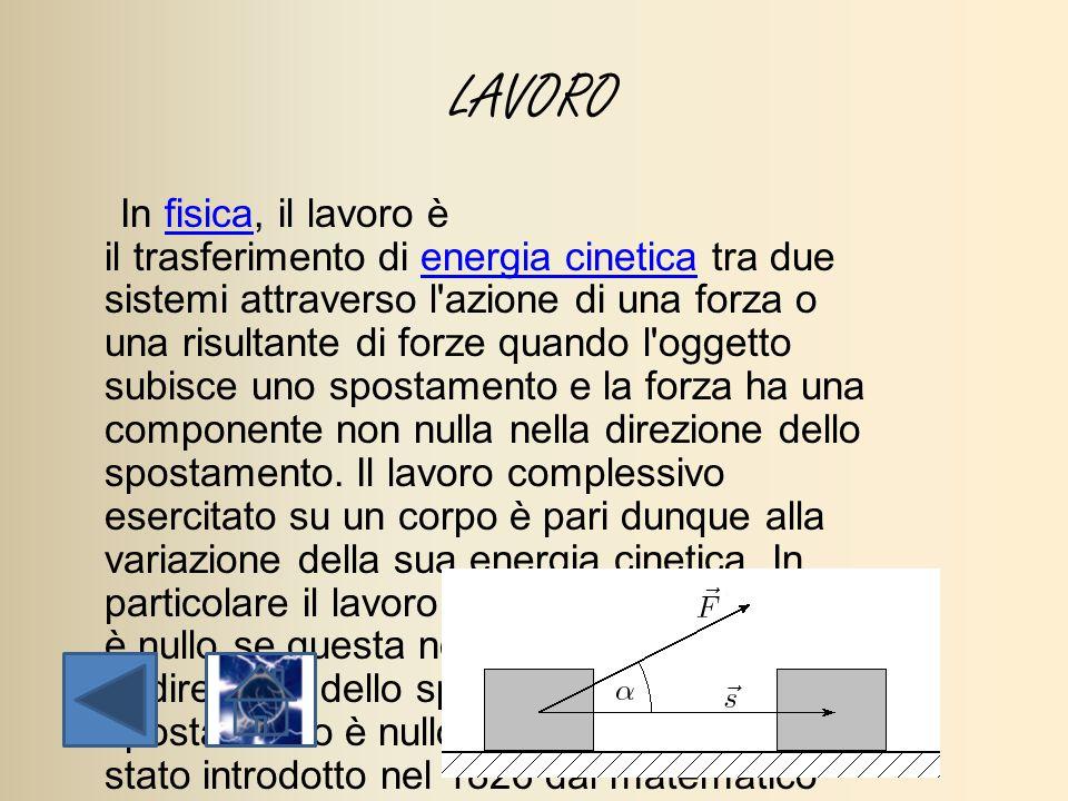 LAVORO In fisica, il lavoro è il trasferimento di energia cinetica tra due sistemi attraverso l'azione di una forza o una risultante di forze quando l