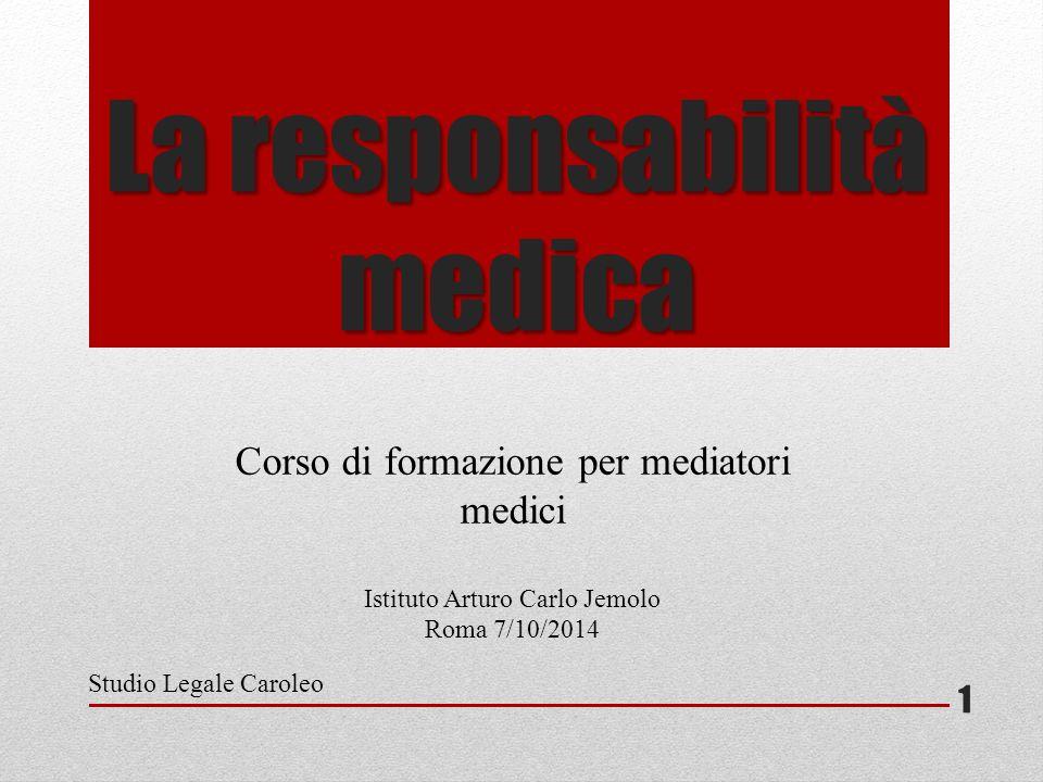 La responsabilità medica Corso di formazione per mediatori medici Istituto Arturo Carlo Jemolo Roma 7/10/2014 Studio Legale Caroleo 1
