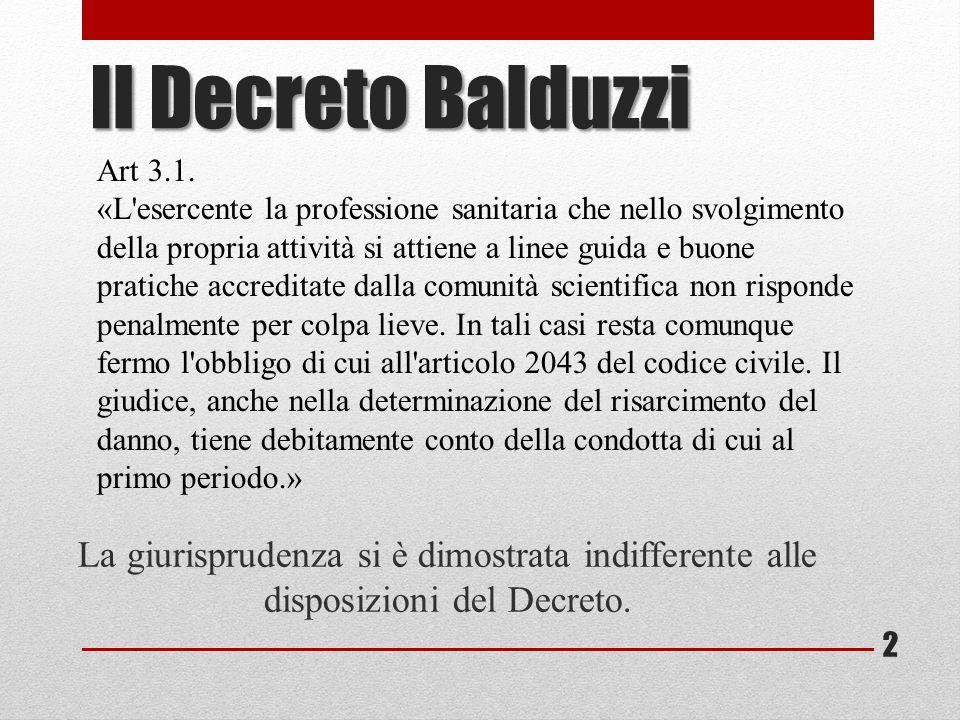Il Decreto Balduzzi La giurisprudenza si è dimostrata indifferente alle disposizioni del Decreto. Art 3.1. «L'esercente la professione sanitaria che n