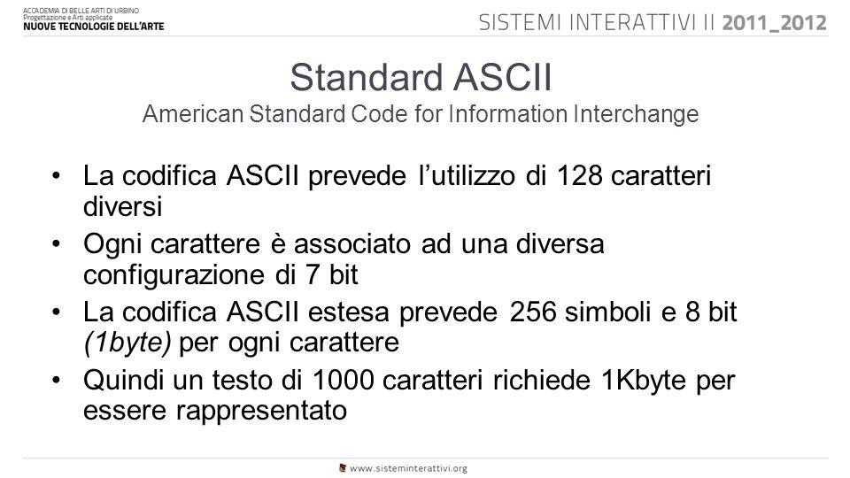 Standard ASCII American Standard Code for Information Interchange La codifica ASCII prevede l'utilizzo di 128 caratteri diversi Ogni carattere è associato ad una diversa configurazione di 7 bit La codifica ASCII estesa prevede 256 simboli e 8 bit (1byte) per ogni carattere Quindi un testo di 1000 caratteri richiede 1Kbyte per essere rappresentato