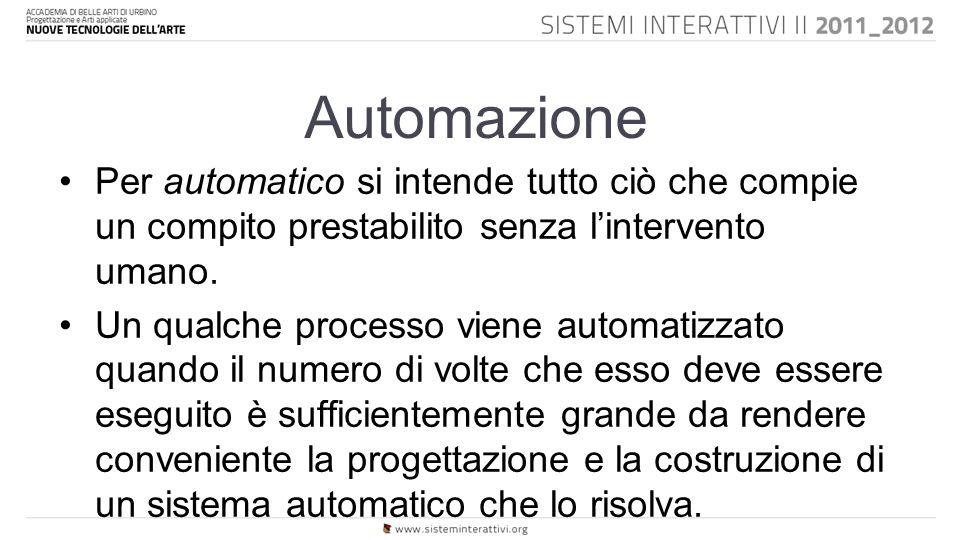 Automazione Per automatico si intende tutto ciò che compie un compito prestabilito senza l'intervento umano.
