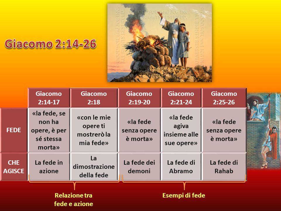 Giacomo 2:14-17 Giacomo 2:18 Giacomo 2:19-20 Giacomo 2:21-24 Giacomo 2:25-26 FEDE «la fede, se non ha opere, è per sé stessa morta» «con le mie opere ti mostrerò la mia fede» «la fede senza opere è morta» «la fede agiva insieme alle sue opere» «la fede senza opere è morta» CHE AGISCE La fede in azione La dimostrazione della fede La fede dei demoni La fede di Abramo La fede di Rahab Relazione tra fede e azione Esempi di fede