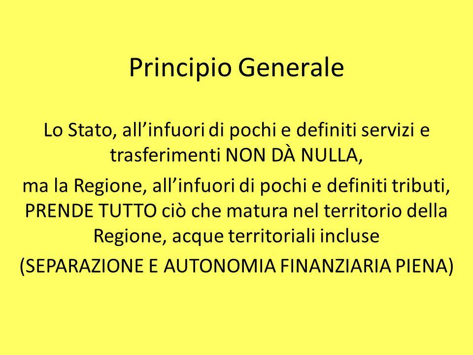 Principio Generale Lo Stato, all'infuori di pochi e definiti servizi e trasferimenti NON DÀ NULLA, ma la Regione, all'infuori di pochi e definiti trib