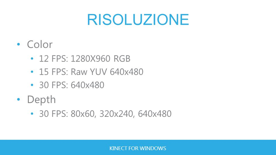 KINECT FOR WINDOWS RISOLUZIONE Color 12 FPS: 1280X960 RGB 15 FPS: Raw YUV 640x480 30 FPS: 640x480 Depth 30 FPS: 80x60, 320x240, 640x480