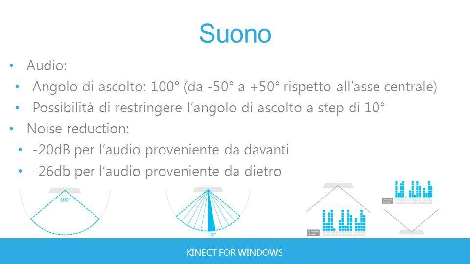 KINECT FOR WINDOWS Suono Audio: Angolo di ascolto: 100° (da -50° a +50° rispetto all'asse centrale) Possibilità di restringere l'angolo di ascolto a step di 10° Noise reduction: -20dB per l'audio proveniente da davanti -26db per l'audio proveniente da dietro