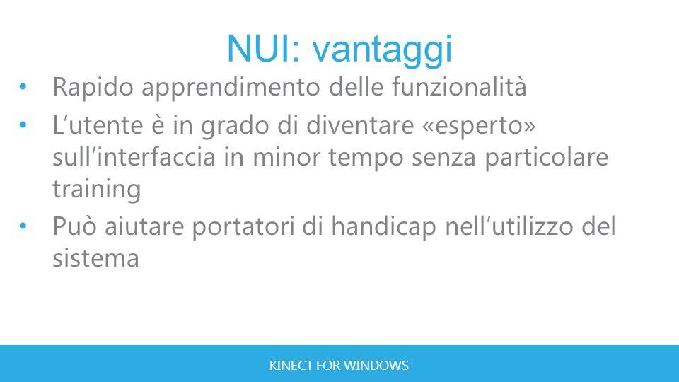KINECT FOR WINDOWS NUI: vantaggi Rapido apprendimento delle funzionalità L'utente è in grado di diventare «esperto» sull'interfaccia in minor tempo senza particolare training Può aiutare portatori di handicap nell'utilizzo del sistema
