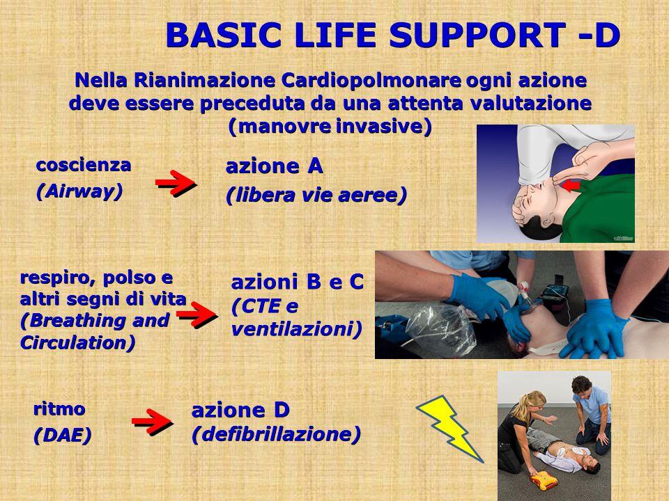BASIC LIFE SUPPORT -D Nella Rianimazione Cardiopolmonare ogni azione deve essere preceduta da una attenta valutazione (manovre invasive) azione D (defibrillazione) ritmo(DAE) azioni B e C (CTE e ventilazioni) respiro, polso e altri segni di vita (Breathing and Circulation) azione A (libera vie aeree) coscienza(Airway)