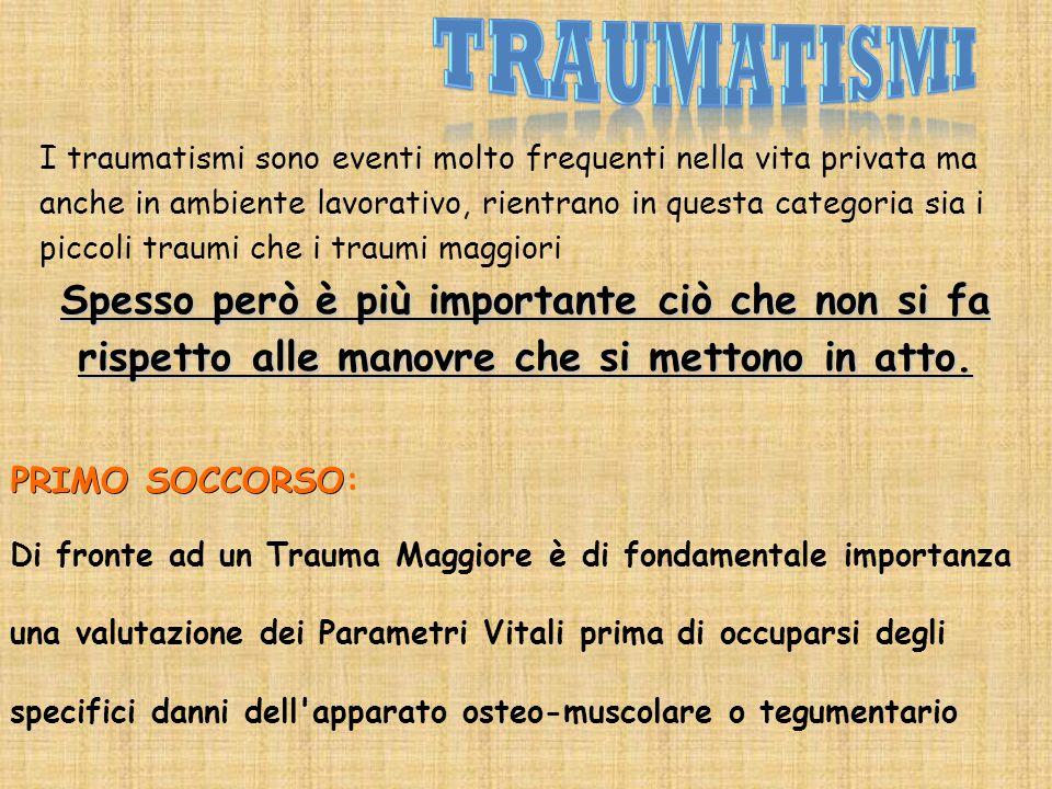 I traumatismi sono eventi molto frequenti nella vita privata ma anche in ambiente lavorativo, rientrano in questa categoria sia i piccoli traumi che i