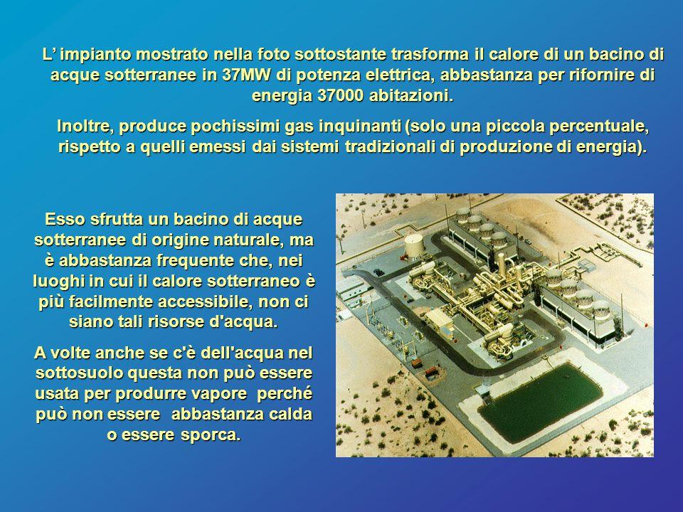 L' impianto mostrato nella foto sottostante trasforma il calore di un bacino di acque sotterranee in 37MW di potenza elettrica, abbastanza per riforni