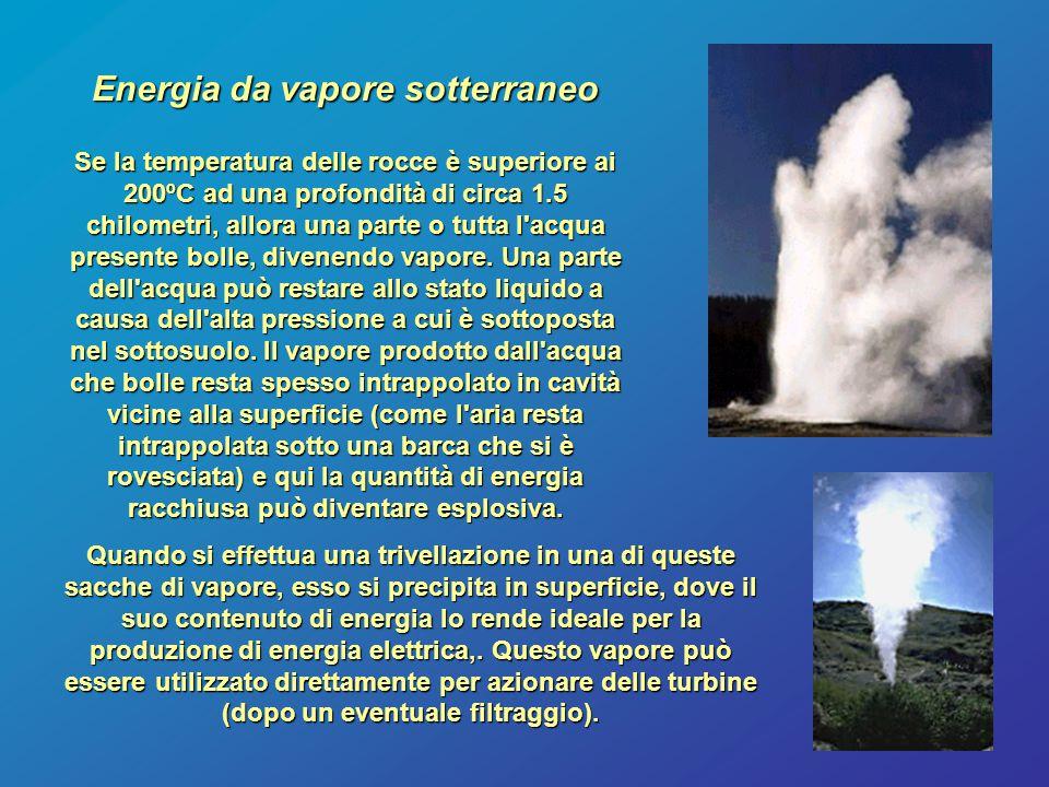 Energia da vapore sotterraneo Se la temperatura delle rocce è superiore ai 200ºC ad una profondità di circa 1.5 chilometri, allora una parte o tutta l