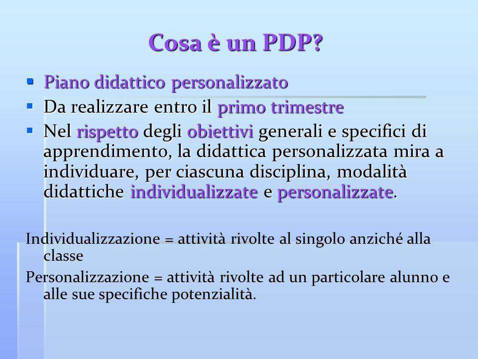 Cosa è un PDP?  Piano didattico personalizzato  Da realizzare entro il primo trimestre  Nel rispetto degli obiettivi generali e specifici di appren