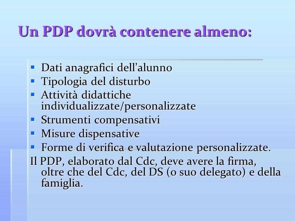 Un PDP dovrà contenere almeno:  Dati anagrafici dell'alunno  Tipologia del disturbo  Attività didattiche individualizzate/personalizzate  Strument