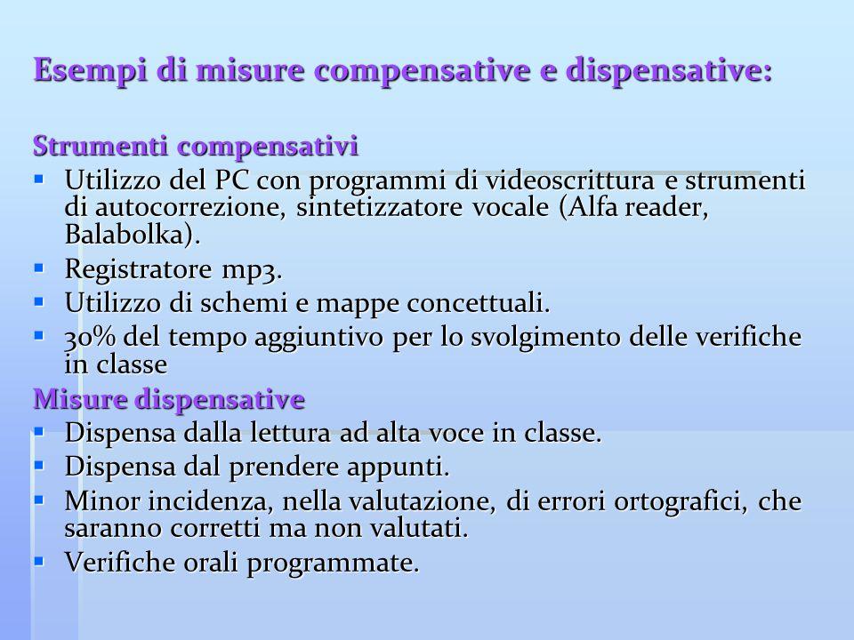 Esempi di misure compensative e dispensative: Strumenti compensativi  Utilizzo del PC con programmi di videoscrittura e strumenti di autocorrezione,