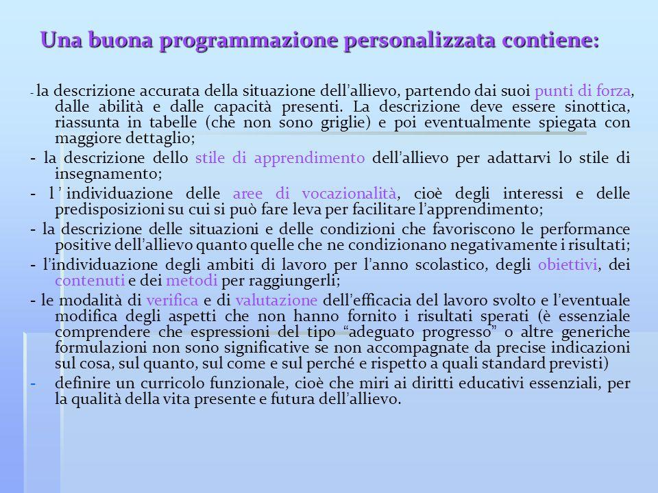 Una buona programmazione personalizzata contiene: - la descrizione accurata della situazione dell ' allievo, partendo dai suoi punti di forza, dalle a