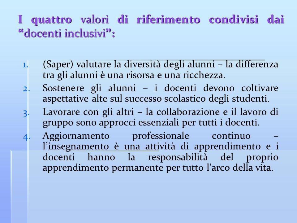 """I quattro valori di riferimento condivisi dai """" docenti inclusivi """" : 1. 1.(Saper) valutare la diversità degli alunni – la differenza tra gli alunni è"""