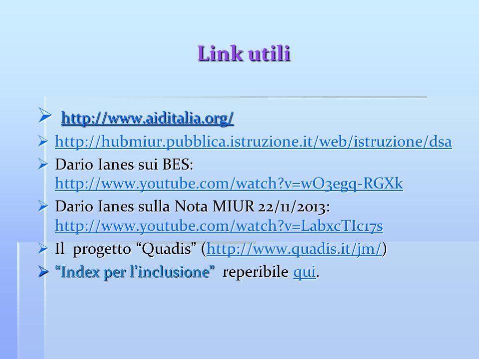 Link utili  http://www.aiditalia.org/ http://www.aiditalia.org/  http://hubmiur.pubblica.istruzione.it/web/istruzione/dsa http://hubmiur.pubblica.is