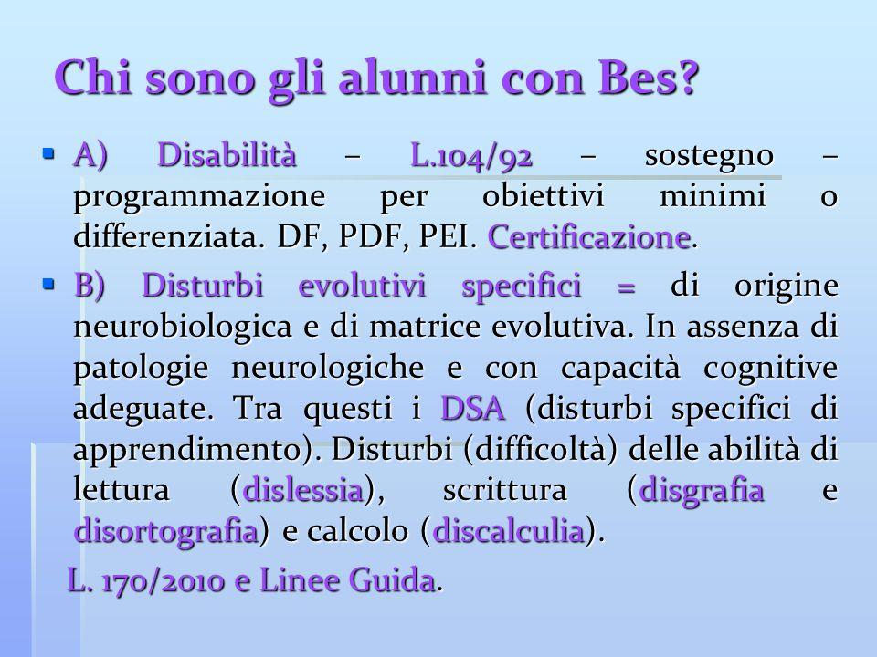 Chi sono gli alunni con Bes?  A) Disabilità – L.104/92 – sostegno – programmazione per obiettivi minimi o differenziata. DF, PDF, PEI. Certificazione