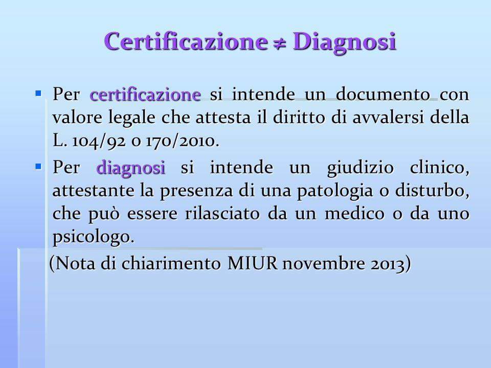 Certificazione ≠ Diagnosi  Per certificazione si intende un documento con valore legale che attesta il diritto di avvalersi della L. 104/92 o 170/201