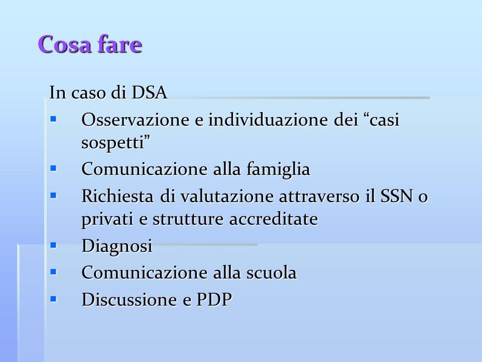 """Cosa fare In caso di DSA  Osservazione e individuazione dei """" casi sospetti """"  Comunicazione alla famiglia  Richiesta di valutazione attraverso il"""