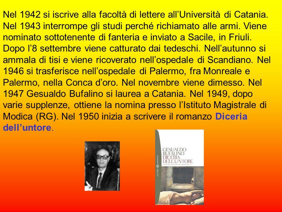 Nel 1942 si iscrive alla facoltà di lettere all'Università di Catania.