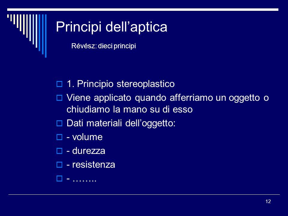 12 Principi dell'aptica Révész: dieci principi  1. Principio stereoplastico  Viene applicato quando afferriamo un oggetto o chiudiamo la mano su di