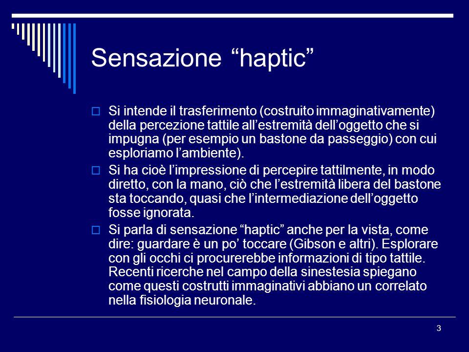 3 Sensazione haptic  Si intende il trasferimento (costruito immaginativamente) della percezione tattile all'estremità dell'oggetto che si impugna (per esempio un bastone da passeggio) con cui esploriamo l'ambiente).