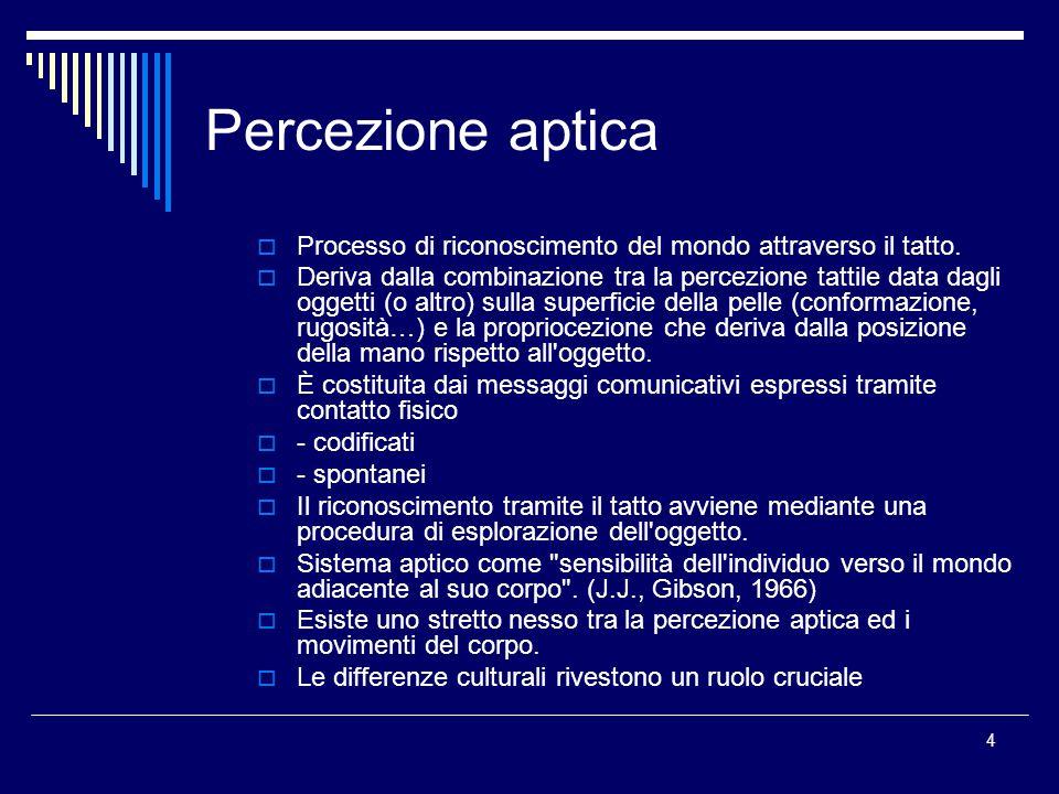 4 Percezione aptica  Processo di riconoscimento del mondo attraverso il tatto.  Deriva dalla combinazione tra la percezione tattile data dagli ogget