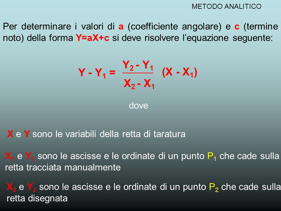METODO ANALITICO Per determinare i valori di a (coefficiente angolare) e c (termine noto) della forma Y=aX+c si deve risolvere l'equazione seguente: Y