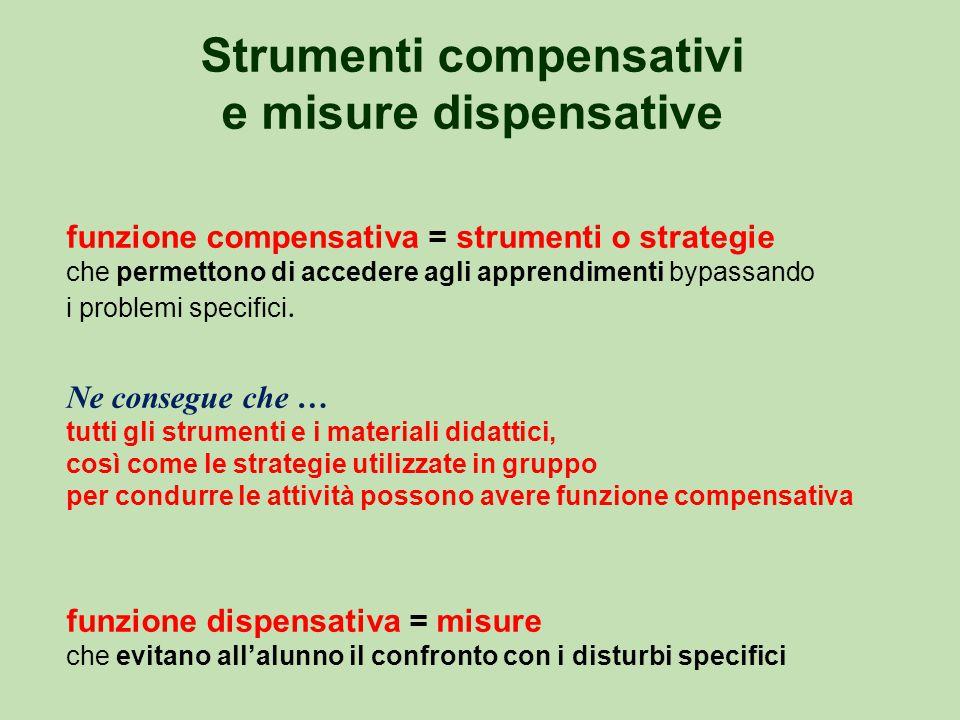 Strumenti compensativi e misure dispensative funzione compensativa = strumenti o strategie che permettono di accedere agli apprendimenti bypassando i problemi specifici.