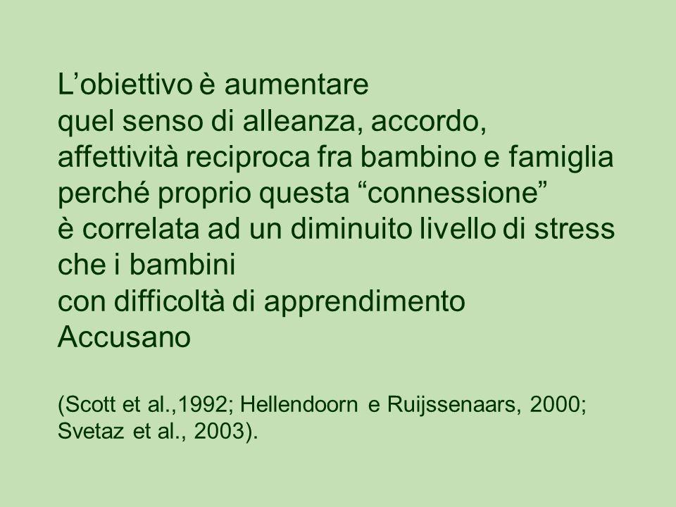 L'obiettivo è aumentare quel senso di alleanza, accordo, affettività reciproca fra bambino e famiglia perché proprio questa connessione è correlata ad un diminuito livello di stress che i bambini con difficoltà di apprendimento Accusano (Scott et al.,1992; Hellendoorn e Ruijssenaars, 2000; Svetaz et al., 2003).