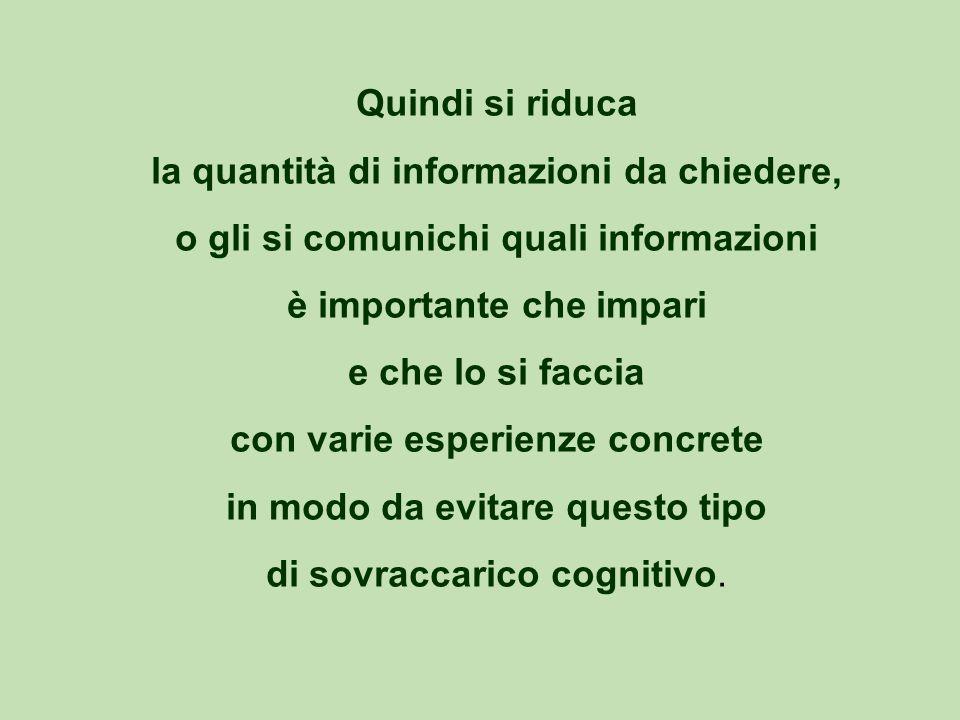 Quindi si riduca la quantità di informazioni da chiedere, o gli si comunichi quali informazioni è importante che impari e che lo si faccia con varie esperienze concrete in modo da evitare questo tipo di sovraccarico cognitivo.