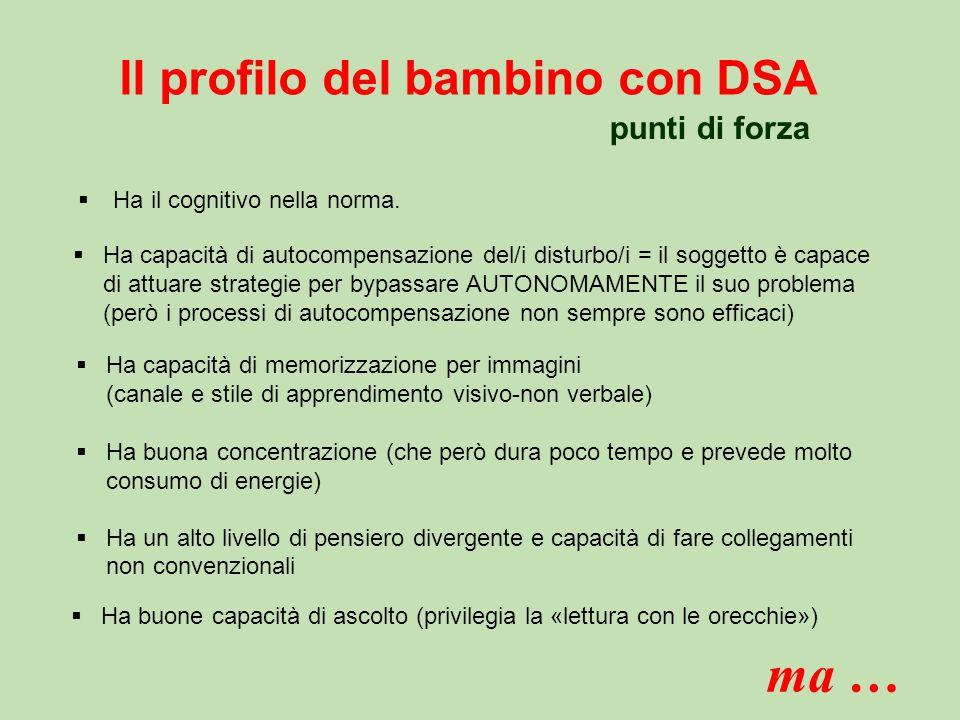 Il profilo del bambino con DSA  Ha il cognitivo nella norma.