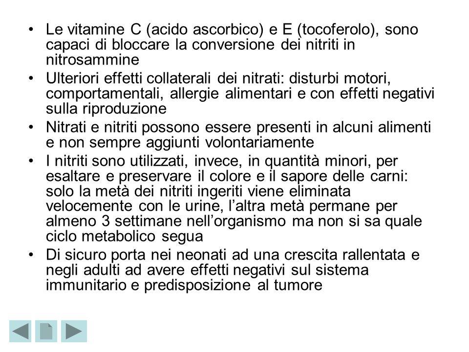 Le vitamine C (acido ascorbico) e E (tocoferolo), sono capaci di bloccare la conversione dei nitriti in nitrosammine Ulteriori effetti collaterali dei