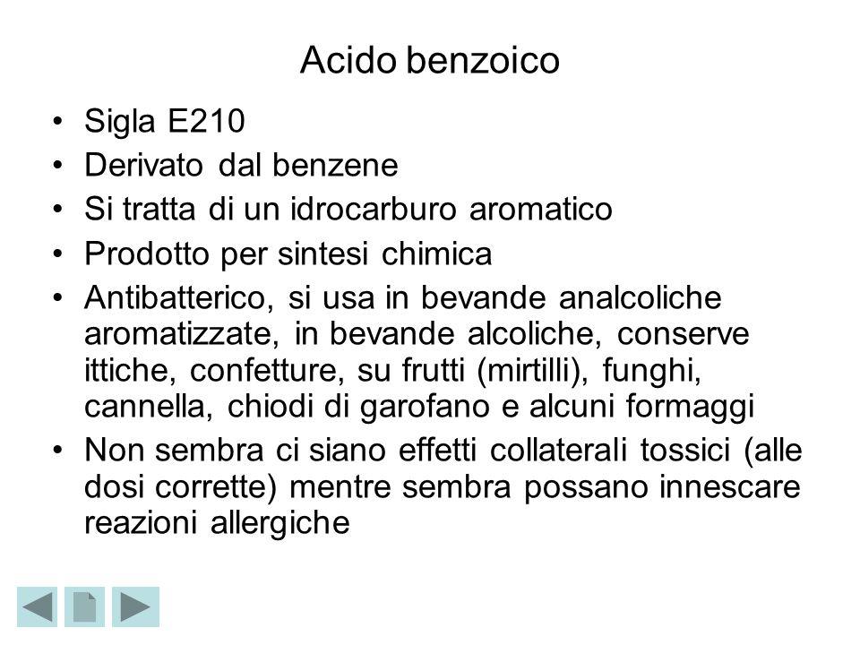 Acido benzoico Sigla E210 Derivato dal benzene Si tratta di un idrocarburo aromatico Prodotto per sintesi chimica Antibatterico, si usa in bevande ana