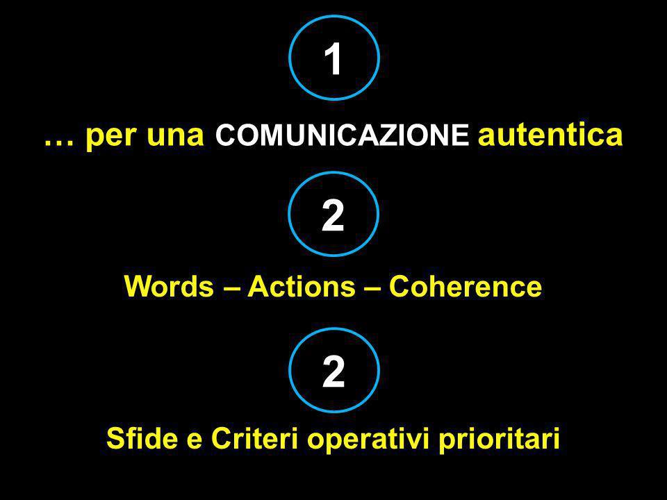 … per una COMUNICAZIONE autentica Sfide e Criteri operativi prioritari Words – Actions – Coherence 1 2 2