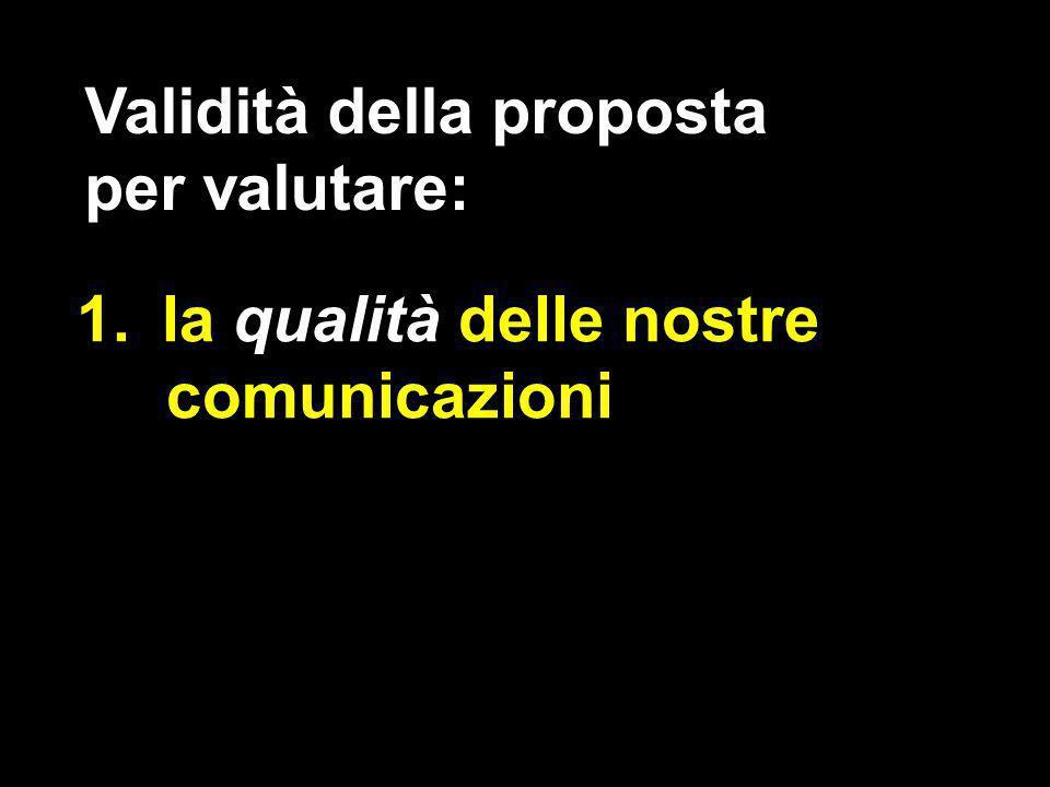 1.la qualità delle nostre comunicazioni Validità della proposta per valutare: