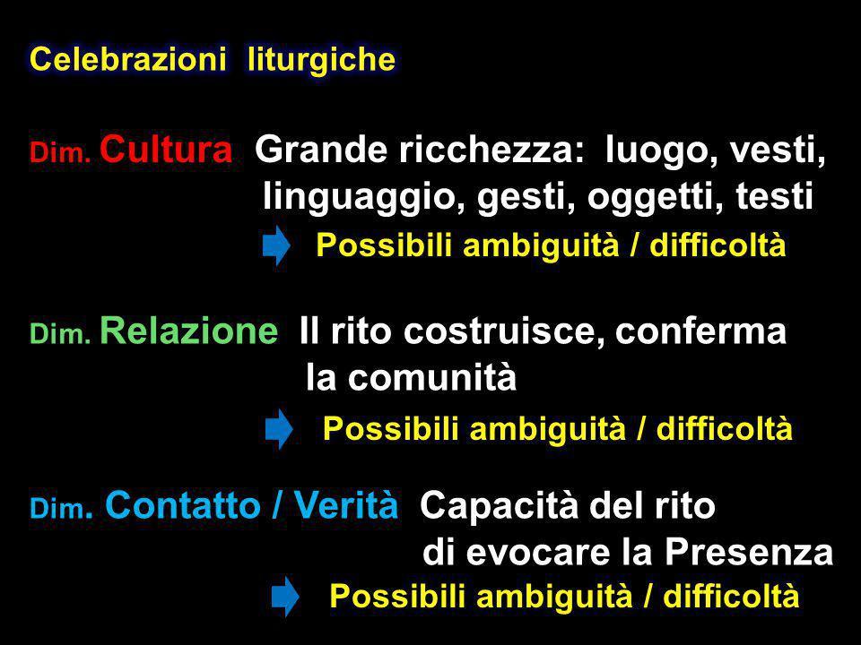 Dim. Cultura Dim. Cultura Grande ricchezza: luogo, vesti, linguaggio, gesti, oggetti, testi Dim.