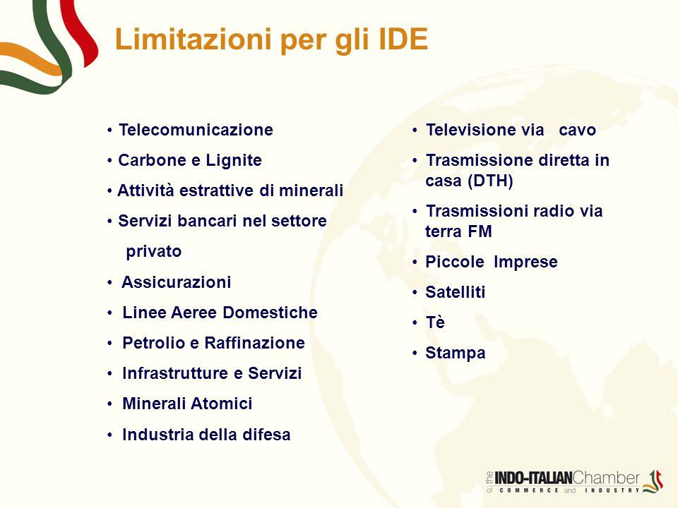 Limitazioni per gli IDE Telecomunicazione Carbone e Lignite Attività estrattive di minerali Servizi bancari nel settore privato Assicurazioni Linee Ae