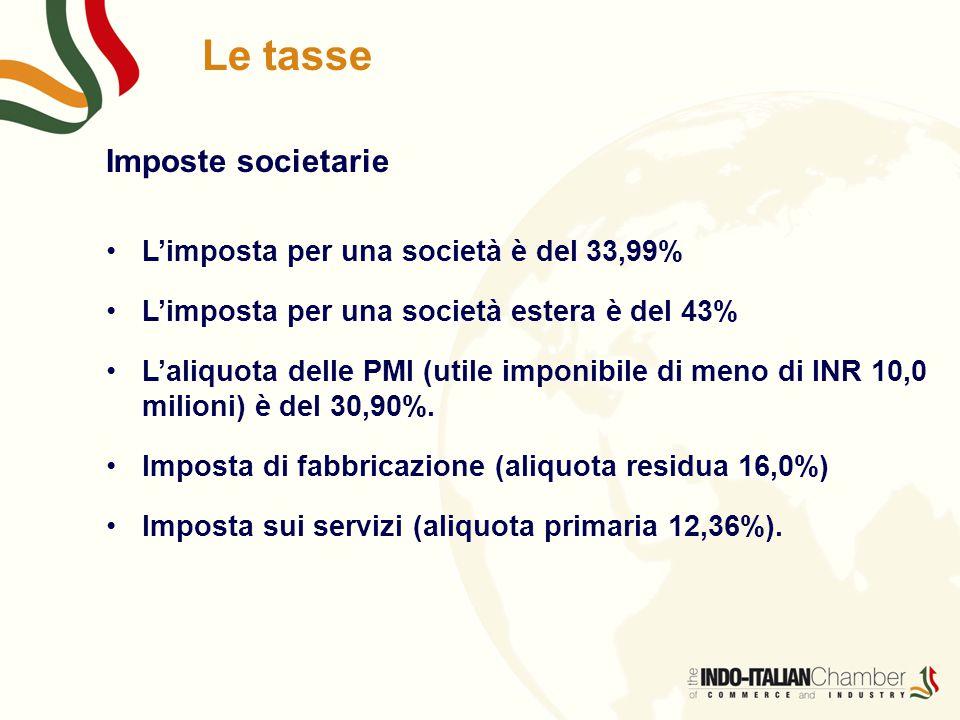 Le tasse Imposte societarie L'imposta per una società è del 33,99% L'imposta per una società estera è del 43% L'aliquota delle PMI (utile imponibile d