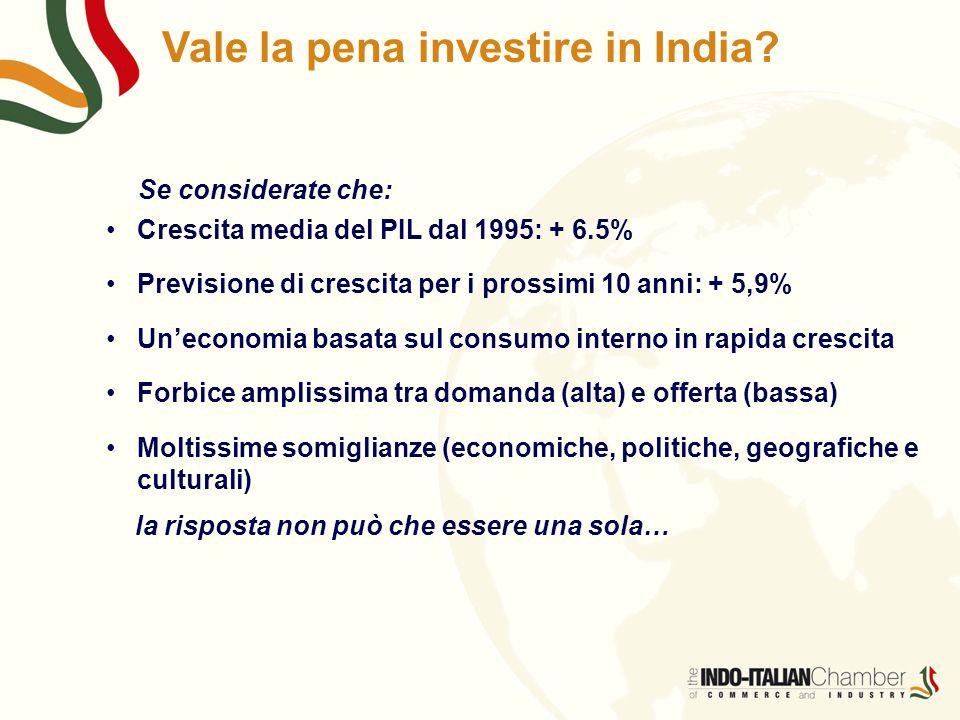 Vale la pena investire in India? Se considerate che: Crescita media del PIL dal 1995: + 6.5% Previsione di crescita per i prossimi 10 anni: + 5,9% Un'