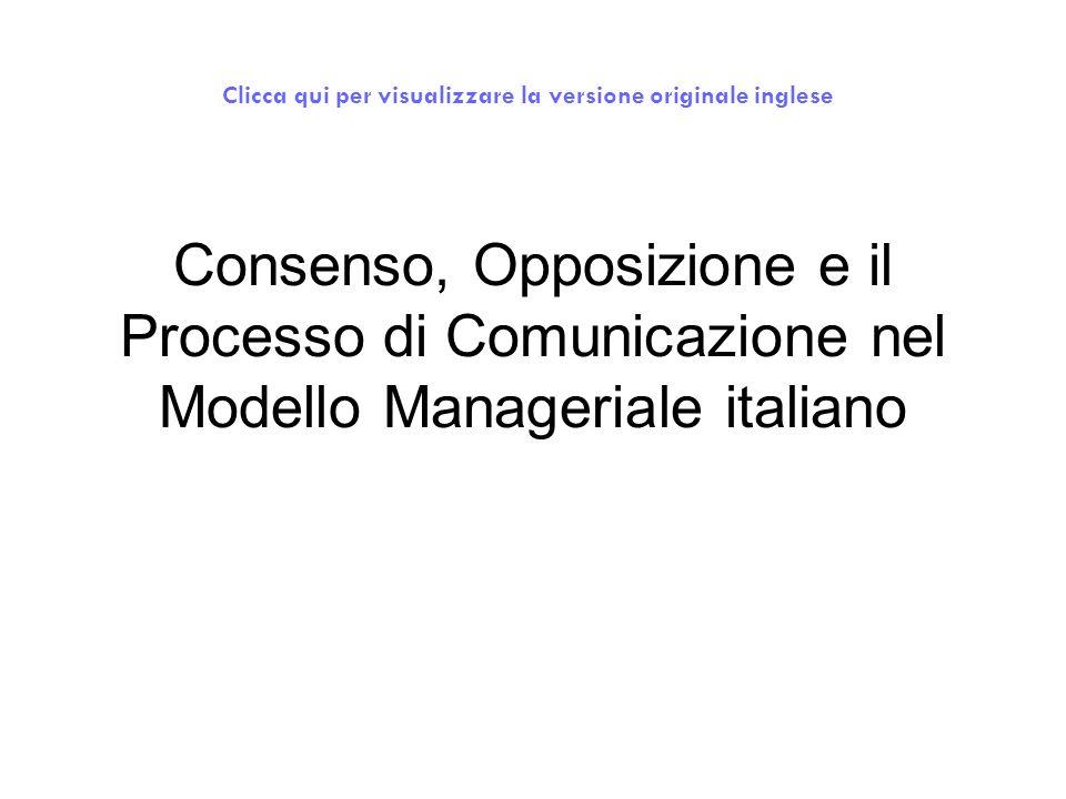 Consenso, Opposizione e il Processo di Comunicazione nel Modello Manageriale italiano Clicca qui per visualizzare la versione originale inglese