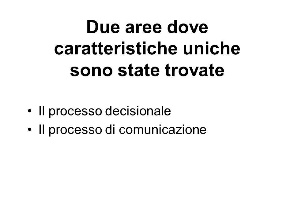 Due aree dove caratteristiche uniche sono state trovate Il processo decisionale Il processo di comunicazione