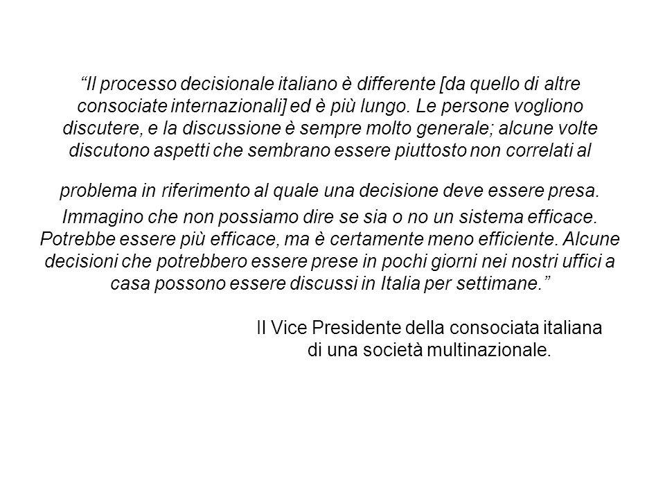 Il processo decisionale italiano è differente [da quello di altre consociate internazionali] ed è più lungo.