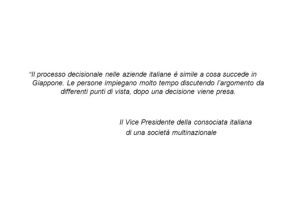 """""""Il processo decisionale nelle aziende italiane è simile a cosa succede in Giappone. Le persone impiegano molto tempo discutendo l'argomento da differ"""